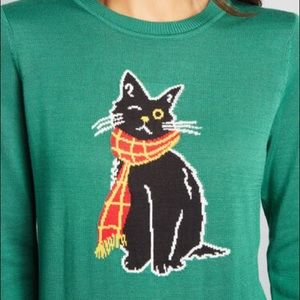 Modcloth Oscar The One Eyed Black Cat Sweater